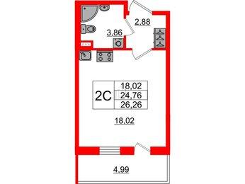 Квартира в ЖК ArtLine в Приморском, студия, 24.76 м², 1 этаж