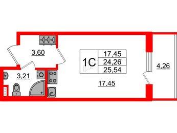 Квартира в ЖК ArtLine в Приморском, студия, 24.26 м², 1 этаж