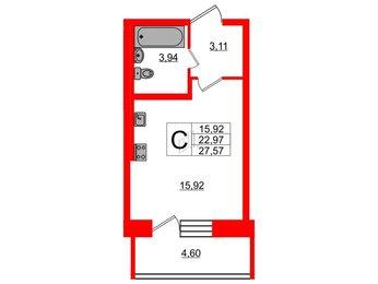 Квартира в ЖК «Северный», студия, 22.97 м², 2 этаж