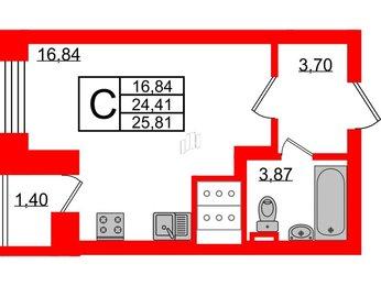 Квартира в ЖК Приневский, студия, 24.41 м², 20 этаж