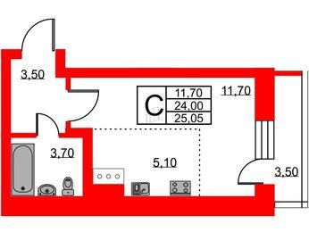 Квартира в ЖК Приневский, студия, 23.99 м², 6 этаж