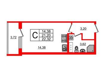 Квартира в ЖК UP! Квартал Пушкинский, студия, 22.32 м², 2 этаж