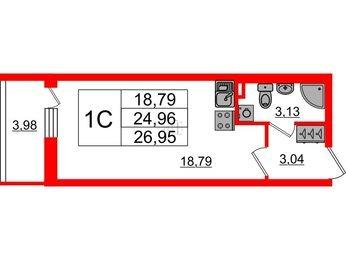 Квартира в ЖК «Солнечный город», студия, 24.96 м², 1 этаж