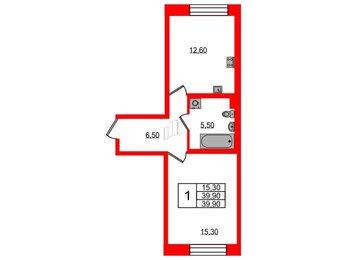 Квартира в ЖК Жемчужный каскад, 1 комнатная, 39.9 м², 1 этаж