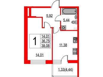 Квартира в ЖК Жемчужная гавань, 1 комнатная, 38.08 м², 2 этаж