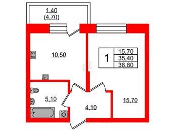 Квартира в ЖК Жемчужный каскад, 1 комнатная, 36.8 м², 2 этаж