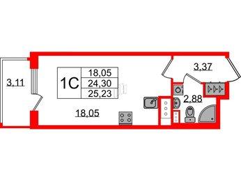 Квартира в ЖК Панорама парк Сосновка, студия, 24.3 м², 2 этаж