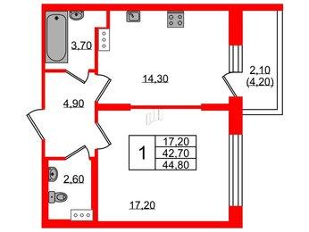 Квартира в ЖК Жемчужный берег, 1 комнатная, 45.4 м², 2 этаж