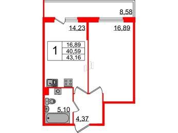 Квартира в ЖК Б 57, 1 комнатная, 43.16 м², 2 этаж