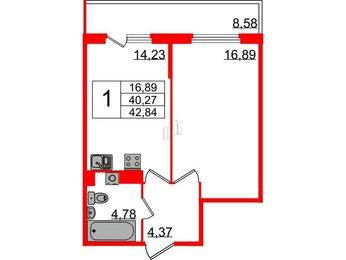 Квартира в ЖК Б 57, 1 комнатная, 42.84 м², 4 этаж