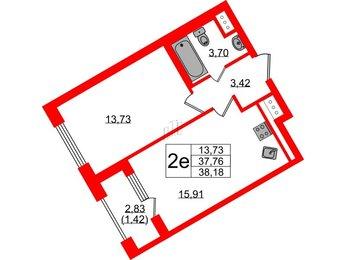 Квартира в ЖК RIVIERE NOIRE, 1 комнатная, 38.18 м², 3 этаж