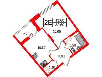 Квартира в ЖК Ultra City 2.0, 1 комнатная, 32.6 м², 4 этаж