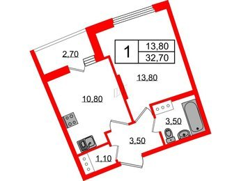 Квартира в ЖК Ultra City 2.0, 1 комнатная, 32.7 м², 7 этаж