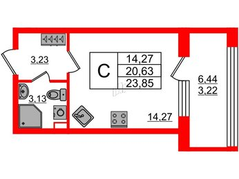 Квартира в ЖК Континенты, студия, 23.85 м², 2 этаж
