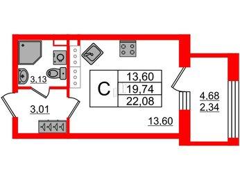 Квартира в ЖК Континенты, студия, 22.08 м², 21 этаж