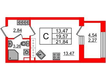 Квартира в ЖК Континенты, студия, 21.84 м², 27 этаж