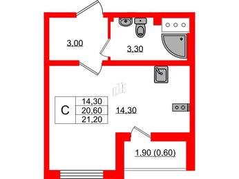 Квартира в ЖК Цветной город, студия, 21.2 м², 3 этаж