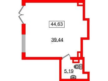 Помещение в ЖК Континенты, 44.63 м², 1 этаж