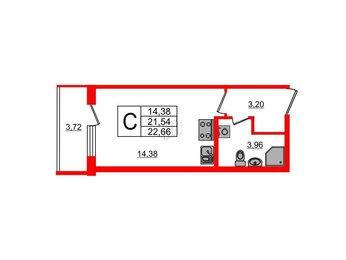 Квартира в ЖК UP! Квартал Пушкинский, студия, 22.66 м², 1 этаж