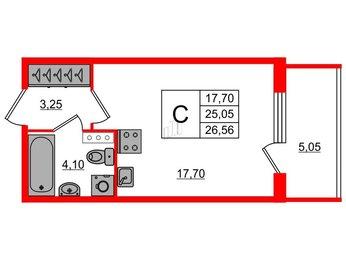 Квартира в ЖК «Юттери», студия, 26.57 м², 4 этаж