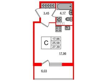 Квартира в ЖК «Юттери», студия, 27.39 м², 1 этаж