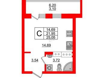 Квартира в ЖК ID Мурино, студия, 25.05 м², 18 этаж
