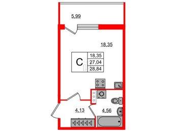 Квартира в ЖК «Юттери», студия, 28.84 м², 1 этаж