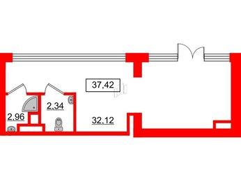 Помещение в ЖК Б-57, 37.42 м², 1 этаж