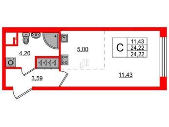 Квартира в ЖК PULSE на набережной, студия, 24.22 м², 2 этаж