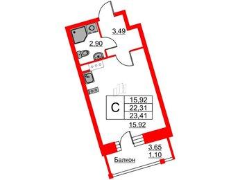 Квартира в ЖК Ariosto!, студия, 23.41 м², 9 этаж