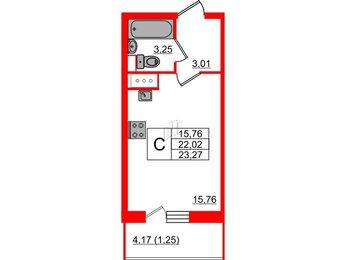 Квартира в ЖК Аквилон Sky, студия, 23.27 м², 7 этаж