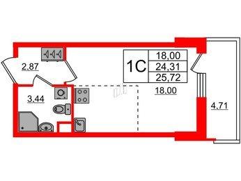 Квартира в ЖК «Чистое небо», студия, 24.31 м², 1 этаж