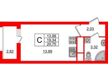 Квартира в ЖК «Нью Тайм», студия, 20.75 м², 4 этаж