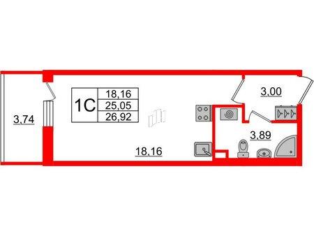 Квартира в ЖК «Солнечный город», студия, 25.05 м², 2 этаж