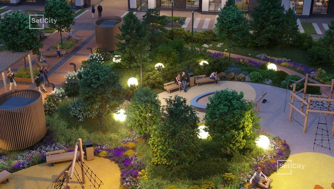 Уютное вечернее освещение двора