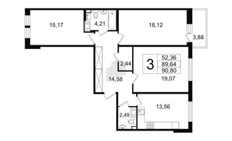 3 комн. кв. 89.64 м²