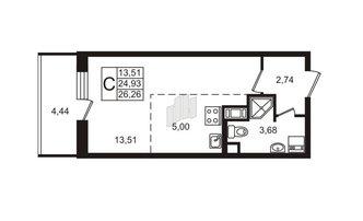 Студия 24.93 м²