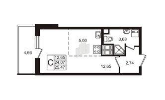 Студия 24.07 м²