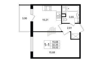 1 комн. кв. 32.35 м²