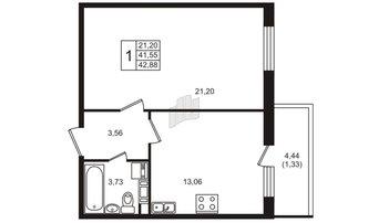 1 комн. кв. 42.88 м²
