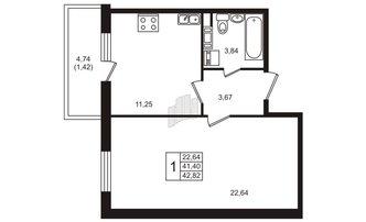 1 комн. кв. 42.82 м²