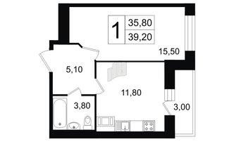1 комн. кв. 35.8 м²