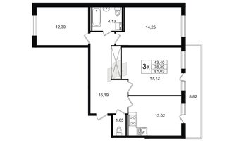 3 комн. кв. 78.39 м²