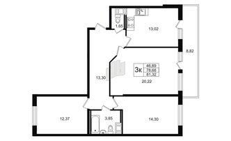 3 комн. кв. 78.68 м²