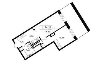 1 комн. кв. 49.2 м²
