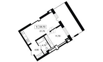 1 комн. кв. 43.2 м²