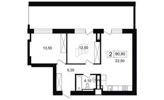 2 комн. кв. 61.4 м²