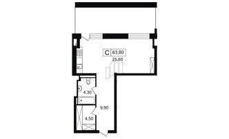 Студия 44.3 м²