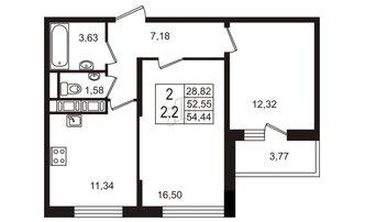 2 комн. кв. 52.55 м²