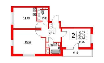 2 комн. кв. 62.39 м²